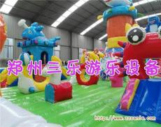 大型充氣城堡滑梯中國龍和龍鯊樂園的結合體