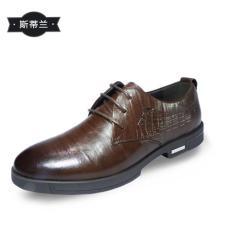斯帝蘭頭層牛皮2015款商務系帶英倫皮鞋